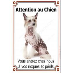 """Chien Chinois à Crête Assis, plaque verticale """"Attention au Chien"""" 24 cm LUX"""