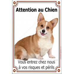 Plaque 24 cm LUXE, Attention au Chien, Welsh Corgi Assis