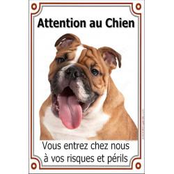 Plaque 24 cm LUXE, Attention au Chien, Bulldog Anglais Fauve Tête