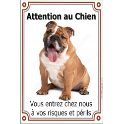 Plaque 24 cm LUXE, Attention au Chien, Bulldog Anglais Fauve Assis