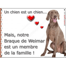 Plaque 2 Tailles LOVE Membre de la Famille, Braque de Weimar Assis