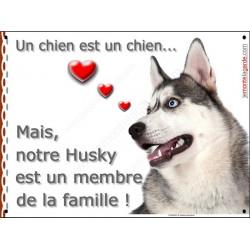 Plaque 2 Tailles LOVE Membre de la Famille, Husky Gris Tête