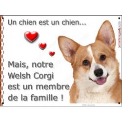 Plaque 2 Tailles LOVE Membre de la Famille, Welsh Corgi Tête