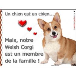 Plaque 2 Tailles LOVE Membre de la Famille, Welsh Corgi Assis