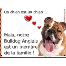 Plaque 2 Tailles LOVE Membre de la Famille, Bulldog Anglais Tête
