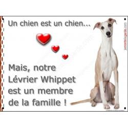 Plaque 2 Tailles LOVE Membre de la Famille, Lévrier Whippet Assis