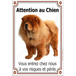 "Chow-Chow Fauve, plaque verticale ""Attention au Chien"" 24 cm VLC"