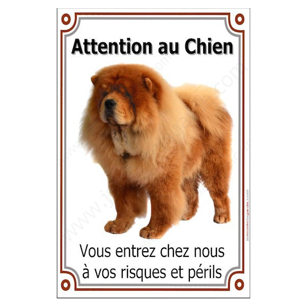 Chow-Chow Fauve, Pancarte Portail Verticale Attention au Chien, panneau affiche