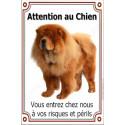 """Chow-Chow Fauve, plaque verticale """"Attention au Chien"""" 24 cm VLC"""