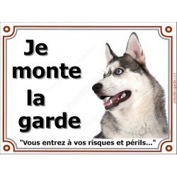 """Husky Gris Tête, plaque """"Je Monte la Garde"""" 3 tailles LUX B"""
