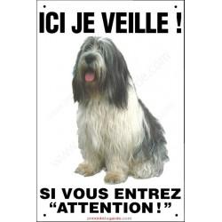Nizinny, pancarte portail verticale, plaque panneau affiche attention au chien, Petit Berger Polonais des Plaines