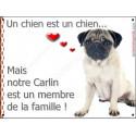 Plaque 2 Tailles LOVE, Membre de la Famille, Carlin Assis