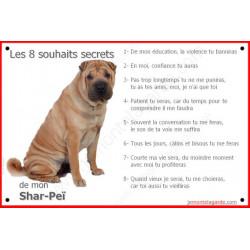 Plaque 24 cm CDT, 8 Souhaits Secrets, Shar-Peï Fauve Assis