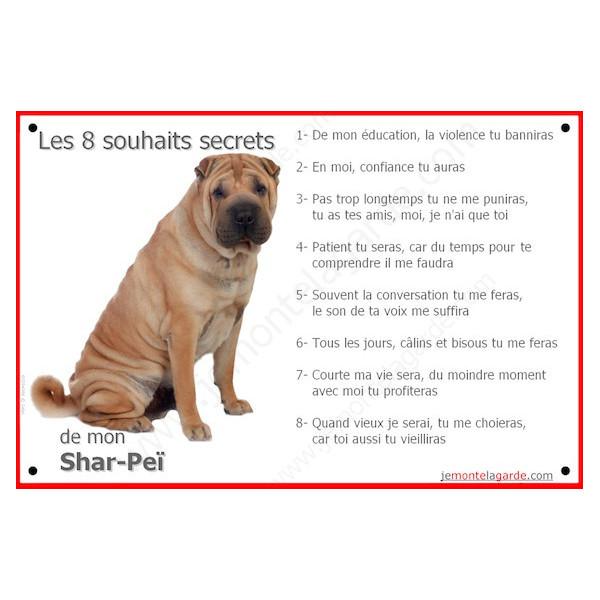 Shar-Peï Fauve Assis, Plaque Portail Les 8 Souhaits Secrets, pancarte, affiche panneau, commandements éducation