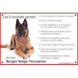 """Plaque portail 24 cm """"Les 8 Souhaits Secrets"""" Berger Belge Tervueren Couché affiche panneau idée cadeau"""