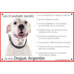 Plaque Les 8 Souhaits Secrets du Dogue Argentin Tête, pancarte règles maison intérieur extérieur