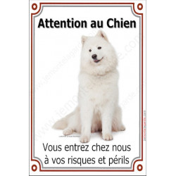 Plaque 24 cm LUXE, Attention au Chien, Samoyède Assis
