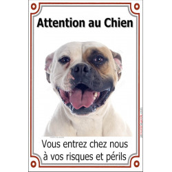 "Bouledogue Américain, plaque ""Attention au Chien"" 24 cm LUX"