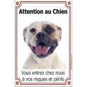 """Bouledogue Américain, plaque """"Attention au Chien"""" 24 cm LUX"""