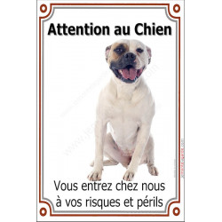 Plaque 24 cm LUXE, Attention au Chien, Bouledogue Américain Assis