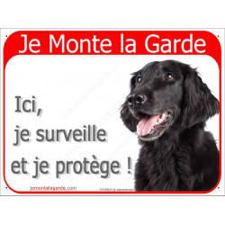 Plaque 2 Tailles RED, Je Monte la Garde, Flat Coated Retriever Tête