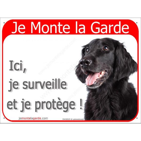 Flat Coated Retriever Tête, Plaque Portail rouge Je Monte la Garde, surveille protège, pancarte panneau attention au chien