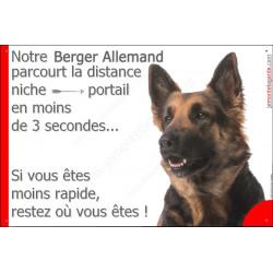 """Berger Allemand Poils Mi-Longs, plaque """"distance Niche - Portail""""  24 cm 3SEC"""