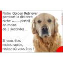 """Golden Retriever, plaque humour """"distance Niche - Portail"""" 24 cm 3SEC"""