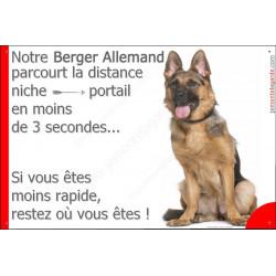 """Berger Allemand Assis, plaque humour """" parcourt distance Niche - Portail 3 secondes"""" pancarte panneau drôle"""
