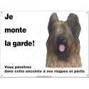 Plaque 3 tailles ECO Je Monte la Garde, Briard Fauve