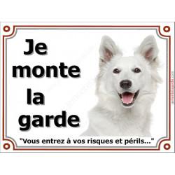 Berger Blanc Suisse Tête, Plaque portail Je Monte la Garde, panneau affiche pancarte, risques périls attention au chien