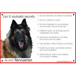 Les 8 souhaits secrets de votre Berger Belge Tervueren sur une pancarte de portail intérieure ou extérieure, qui affiche la list