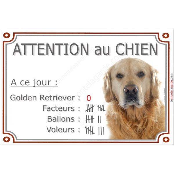 Golden retriever t te pancarte portail dr le affiche panneau marrant - Dessin golden retriever ...