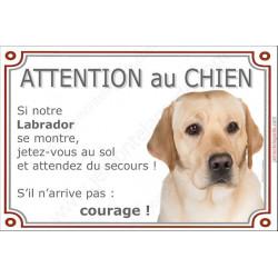 """Labrador Sable Tête, plaque """"Attention au Chien, jetez Vous au Sol"""" 24 cm JET"""