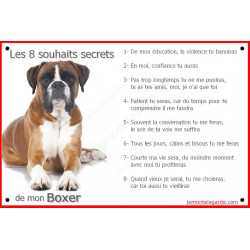 Boxer fauve, Panneau Portail, affiche pancarte, plaque commandements éducation Attention au Chien marron orange