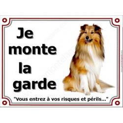 """Colley Fauve, Plaque """"Je Monte la Garde, à vos risques et périls"""" affiche pancarte photo panneau attention au chien"""