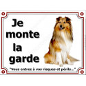 """Colley Fauve assis, plaque """"Je Monte la Garde"""" 3 tailles LUX A"""