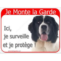 Landseer tête , Panneau Portail rouge Je Monte la Garde, affiche plaque surveille et protège attention au chien