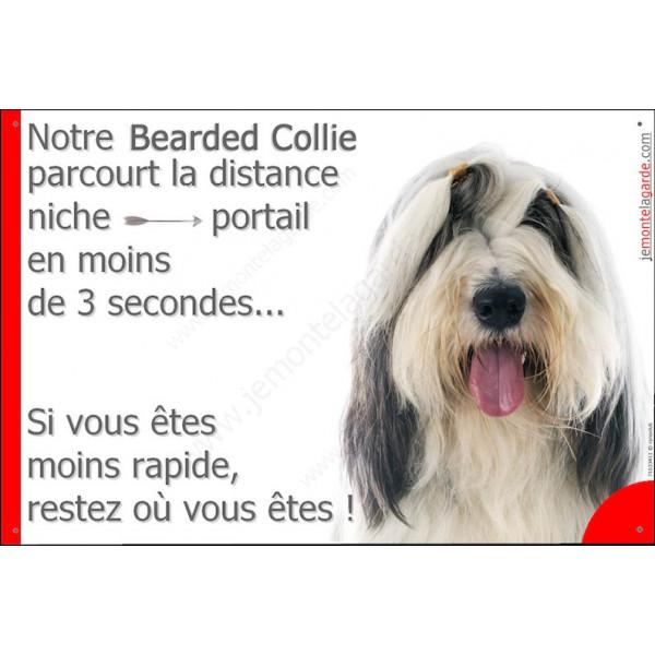 Bearded Collie Tête, Plaque Portail humoristique, pancarte, affiche panneau Attention chien parcourt la distance niche portail e