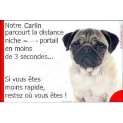 Carlin Tête, Plaque Portail humoristique, pancarte, affiche panneau Attention chien parcourt la distance niche portail en moins