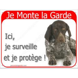 Plaque 2 Tailles RED, Je Monte la Garde, Braque Allemand Couché