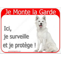 """Berger Blanc, plaque rouge """"Je Monte la Garde"""" 24 cm RED"""