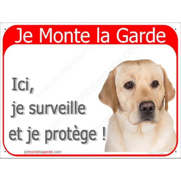 Labrador Sable Tête, Plaque Portail rouge Je Monte la Garde, surveille protège, pancarte, affiche panneau jaune beige