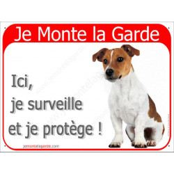 Plaque 2 Tailles RED, Je Monte la Garde, Jack Russell Assis