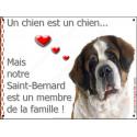 Plaques 2 tailles LOVE Membre de la Famille, St-Bernard Tête