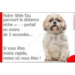 Shih-Tzu tête, Plaque Portail humoristique, pancarte, affiche panneau shih-tsu distance niche portail 3 secondes