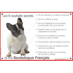 Bouledogue Français Caille assis, Panneau Portail, affiche panneau, plaque commandements éducation Attention au Chien