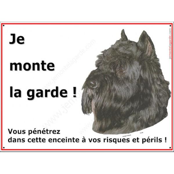 Bouvier des Flandres Noir, Panneau Portail Je Monte la Garde, plaque affiche pancarte, risques périls