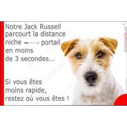 Jack Russell Poils durs tête, Plaque Portail humoristique, pancarte, affiche panneau drôle, Attention chien parcourt distance ni