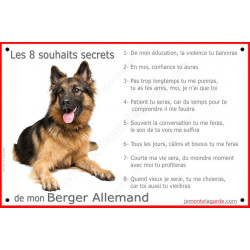 Plaque 24 cm CDT, 8 Souhaits Secrets, Berger Allemand Poils Longs couché